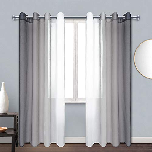 ASPMIZ Grey and White Ombre Sheer Curtains, Gray Gradient Voile Curtain Panels, Semi-Sheer Window Drapes with Grommets for ModernLiving Room Bedroom Decor, Set of 2 Panels, 52 x 84 Inch Length