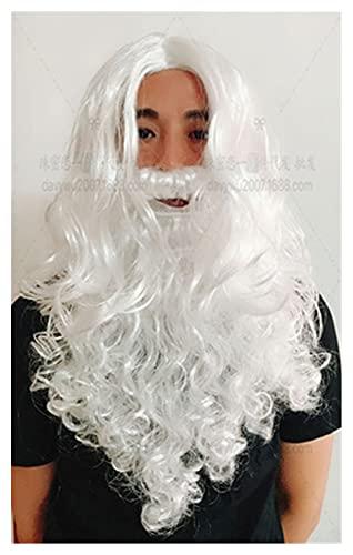 M-6XL Navidad Santa Claus Costume Cosplay Santa Claus Disfraz de Disfraces Ropa de Navidad Hombres de Navidad 7 Piezas/Juego de Disfraces for Adultos (Color : Wig and Beard, tamaño : One Size)