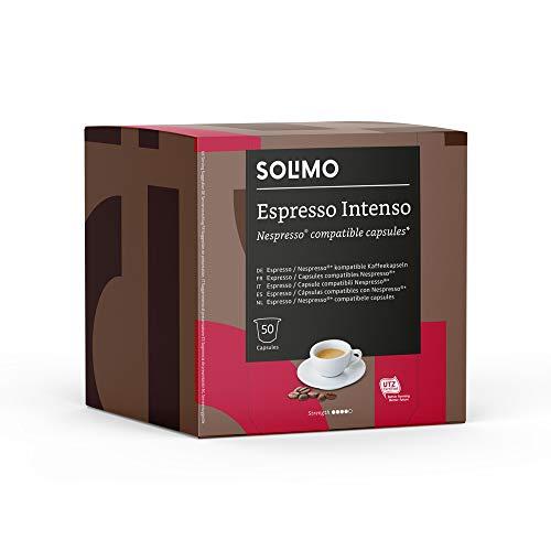 Marca Amazon - Solimo Cápsulas Espresso Intenso, Compatibles con Nespresso - 100 cápsulas (2 Paquetes x 50)