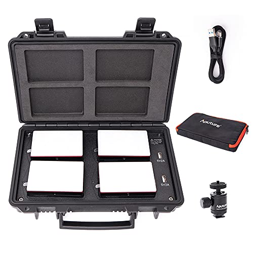 Aputure MC 4-Light Travel Kit, 4 MC RGBWW LED On Camera Lights with Wireless Charge Case CRI/TLCI 96+, Temperature 3200K-6500K, HSI Mode,Support Magnetic Attraction