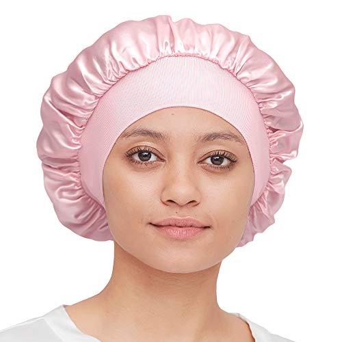 Mommesilk Seide Schlafmütze Damen mit Langen Haaren Weiche Nachtmütze mit breitem Gummiband für Schlafen/Krebs/Chemo/Haar-Verlust Verpackung MEHRWEG - Hell Pflaume