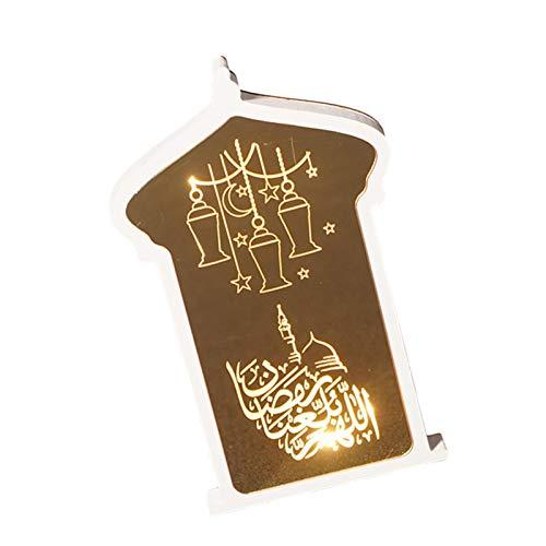 Sue Supply Ramadan Dekoration LED Licht Ornament, Acryl + Holz, Nachtlicht LED Muslim Ramadan Tisch Licht Ramadan Eid Mubarak Ornamente Partys Dekoration, für Home Office Tischfest