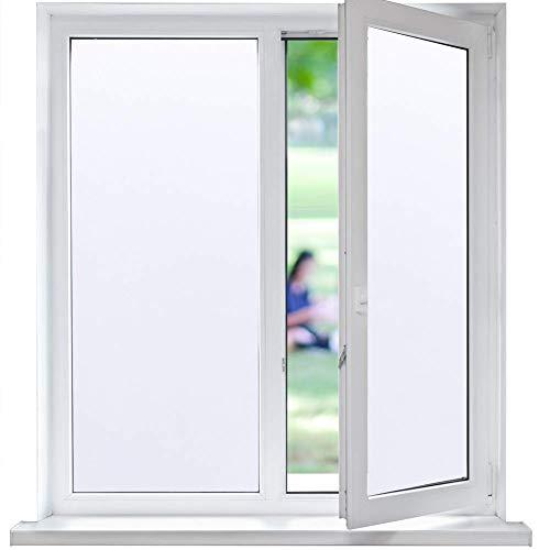 Funfox Fensterfolie Sichtschutzfolie Selbstklebend Blickdicht Fenster Milchglasfolie Anti-UV Statische Folie Milchglas für Badzimmer Büro weiß 44.5 x 200cm
