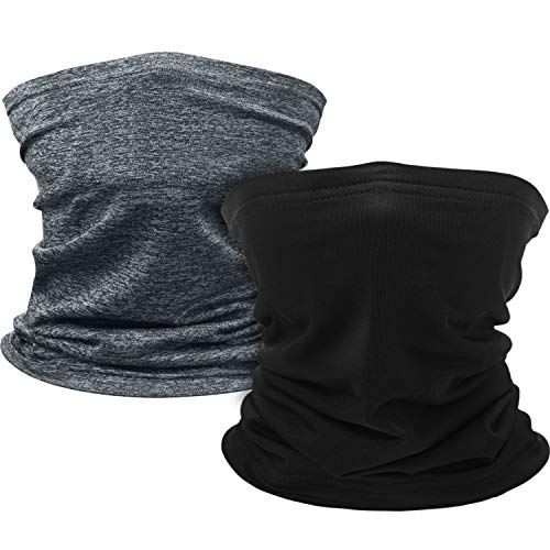 Kids Youth Face Cover UV Protection Bandana Neck Gaiter Scarf with Built-in Filter Pocket for Kids Outdoor Sports (2 Pieces, Minimalist Design)