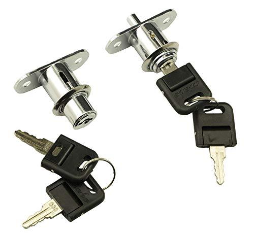 Porta scorrevole Cassetto Serratura sicurezza con 2 chiavi mobili per schedari, antine scorrevoli, serrature, light box serrature, cassetti finestre, vetrine (Silver)