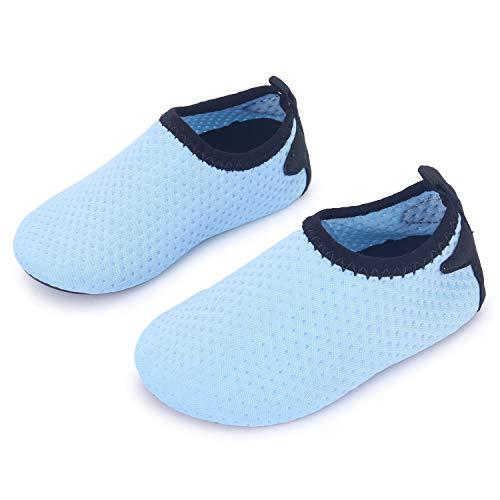 JIASUQI Baby Kleinkind Säugling Barfuß Schwimmen Wasser Haut Schuhe Aqua Socken für Strand Swim Schwimmbad, Himmel Blau 12-18 Monate