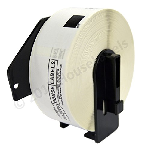 "HOUSELABELS Compatible with DK-1201 Replacement Roll for Brother QL Label Printers; 400 Removable Adhesive Address Labels; 1-1/7"" x 3-1/2"" (29mm90mm) with 1 Reusable Cartridge - 2 Rolls"