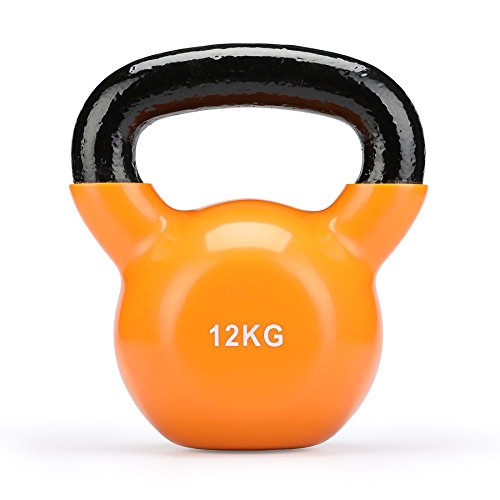 Sfeomi Cast Iron Kettlebell with Vinyl Coating Ideal for Strength Training at Home Muscle Building Dumbbells, Orange 12kg