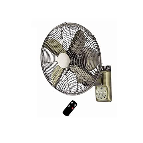 Ventilador eléctrico Ventilador de Pared de Metal de 18 oscilante de Pared de 3 velocidades y 4 aspas para la Industria de Bares de restaurantes, Bronce Verde(Color:Control Remoto)