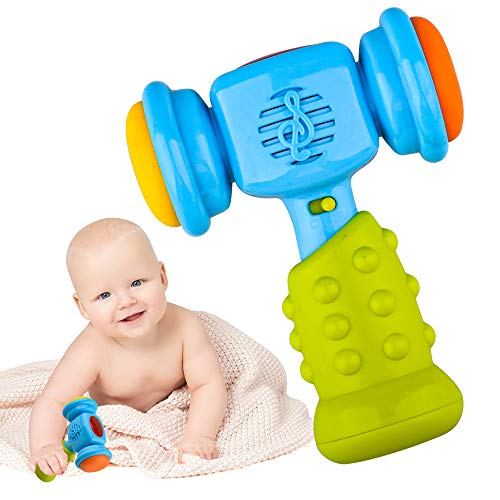 SUGOO Toy for 1-3 Year Old Kids Boys, Shaking Music Hammer Toy Age 1-2 Girls Boys Birthday Gift for 2-3 Year Old Boy Baby Girl Gift Age 1 2 3 Toddler Blue Rattle