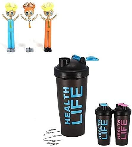 Bicchiere per sport 600 ml per proteina rosa e regalo una spazzola per la pulizia di bicchieri bambola