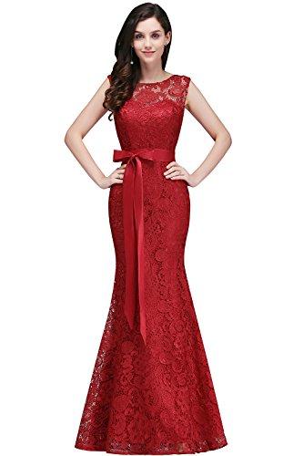 Babyonline® Elegant Cocktailkleid Spitzen Vintage Kleid Off Schulter Brautjungfer Langes Abendkleid 46