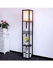 Vloerlamp gemaakt van Hout met 3 Planken, 1.6 m Staande Lamp Moderne Vloerlamp met Houten Plank, Retro Houten Vloerlamp voor Kantoor Wonkamer Slaapkamer, Bedlampje met Lampenkappen, Fitting E27
