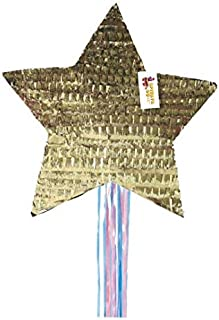 APINATA4U Gender Reveal Star Pinata Traditional Whack & Pull Strings Style Gold Color