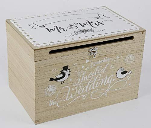 Caja de madera para tarjetas de boda o recuerdos, imagen de felicitación con pareja de novios, aniversario, caja de dinero, idea de regalo: Amazon.es: Juguetes y juegos