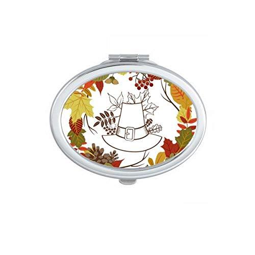 DIYthinker Feuille Jour de Thanksgiving Garland Motif Ovale Maquillage Compact Miroir de Poche Miroirs Mignon Petit Cadeau Portable à la Main Multicolor