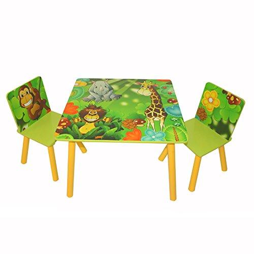 Homestyle4u 642, Kindersitzgruppe Dschungel Tiere, Kindermöbel Set aus 1 Kindertisch und 2 Stühle, Holz Grün