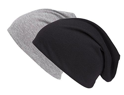 Shenky - Lot de 2 Longs Bonnets de Printemps/d'été - Jersey Fin Doux au Toucher - Noir/Gris