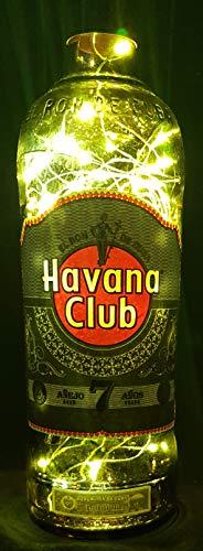 Havana Club Anejo 7 - Flaschenlampe mit 80 LEDs Kaltweiß Upcycling Geschenk Idee