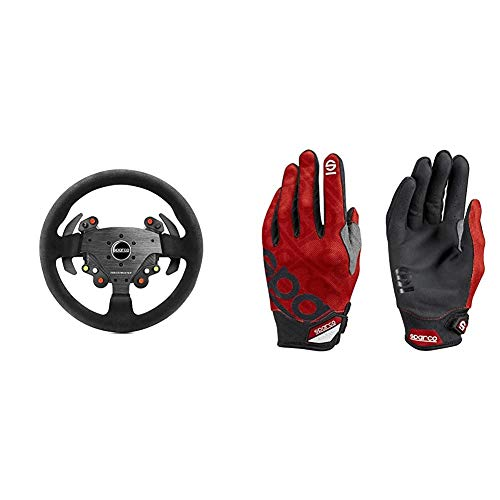 Thrustmaster TM Rally Wheel AddOn Sparco R383 Mod (Steering Wheel AddOn, 33cm, Suede, PS4 / PS3 / Xbox One / PC) + Sparco 002093RS3L Guantes, Rojo, L