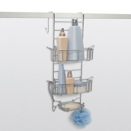 Zenna Home Rust-Resistant Over-The-Shower Door Caddy, Stainless Steel