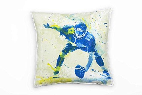 Paul Sinus Art American Football II Deko Kissen mit Füllung 40x40cm für Couch Sofa Lounge Zierkissen - Dekoration zum Wohlfühlen Hergestellt in Deutschland