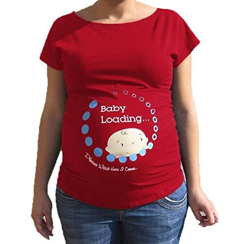 Huateng T-Shirt pour Femme Enceinte à Manches Courtes Imprimé Maternity Wear