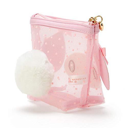 Cute transparent transparent make-up bag mini storage bag pink mesh travel cosmetic bag-My Melody
