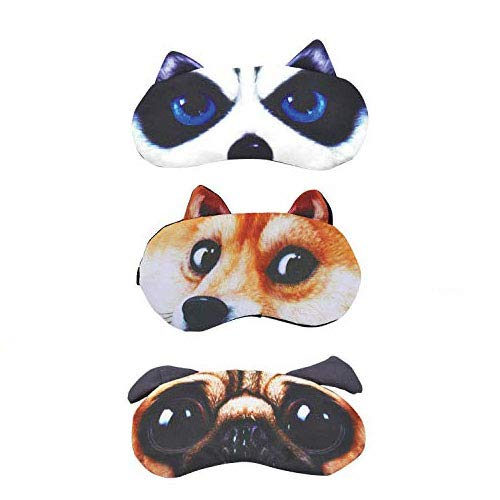 Antifaz para dormir, diseño de caricatura de perro y gato, suave y...