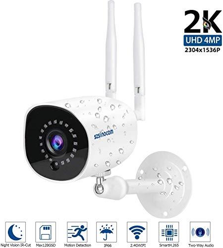 Videocamere di Sorveglianza WIFI Esterno 1536P, SZSINOCAM Telecamera IP Camera 4MP Wifi Sistema CCTV Visione Notturna, Rilevazione Del Movimento,Audio Bidirezionale, Monitor Home/Baby,IOS/Android/PC