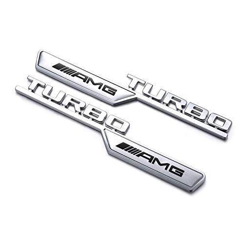 YIKA AMG TURBO Leaf Plate Refitting 3D Car Logo Dekoration für Mercedes Benz (2 Stück)
