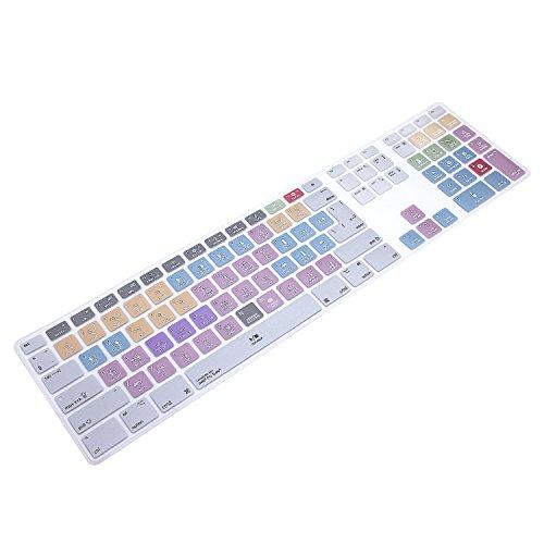 MMDW Avid Pro Tools Shortcuts Extended Layout Silikon Tastatur-Schutzabdeckung für Apple iMac G6 Aluminium Wired Keyboard MB110B/B (A1243) Numerische Tastatur EU/US Version