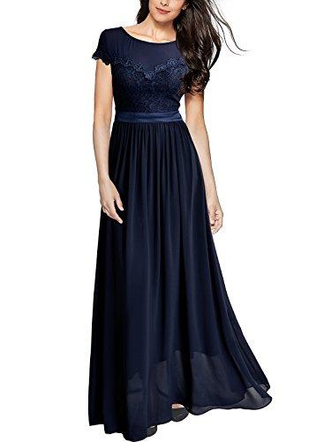 MIUSOL Damen Elegant Spitzenkleider Hochzeit Brautjungfer Chiffon Abendkleider Dunkelblau XL