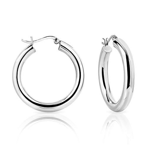 DTPsilver - Boucles d'oreilles Femme Créoles épaisses en Argent Fin 925 – Épaisseur 5 mm Diamètre : 35 mm
