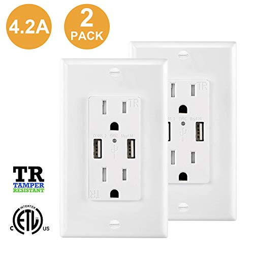 USB Outlet, 2 Pack USB Outlet Charger Wall Plate,Fast Charger, High Speed Decora Outlet, Duplex Receptacle with Dual USB Ports 15A 125V 60Hz Tamper Resistant & Free Wallplate, White
