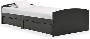 VIENDADPOW Lits & Cadres de lit Cadre de lit avec 2 tiroirs Gris Bois de pin Massif 90x200 cm
