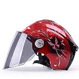 ZHXH Motocicleta Bicicleta Eléctrica Medio Casco De La Bicicleta Casco De Montar Brillante Color De Seguridad De Protección Solar Medio Casco De Montar A Caballo Anti-Ultravioleta Femenino,06