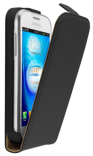 mumbi Echt Leder Flip Case kompatibel mit Samsung Galaxy Trend Lite Hülle Leder Tasche Case Wallet, schwarz