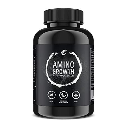 AMINO GROWTH TABLETTEN - 150 Aminosäuren-Tabletten- vegan - Komplex aller 18 Aminosäuren inkl. aller EAA und Maca zum Muskelaufbau