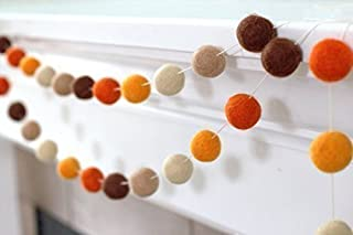 """Felt Ball Garland- Brown and Orange- 1"""" (2.5 cm) Wool Felt Balls- Fall Autumn Halloween Thanksgiving Pumpkin"""