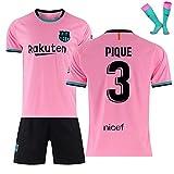 LISI Conjunto Camiseta y Pantalón FC Barcelona, 20-21 Rosa Camiseta de Futbol para Niños y Adulto Unisex Fans Replica - 100% Poliéster,A,20