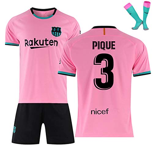 LISI Conjunto Camiseta y Pantalón FC Barcelona, 20-21 Rosa Camiseta de Futbol para Niños y Adulto Unisex Fans Replica - 100% Poliéster,A,XL