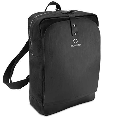 Schwarz Stein Rucksack aus Canvas & echtem Büffel-Leder - 2 Flaps in Schwarz und Braun - stilvolle (Schwarz) Laptop Tasche Backpack