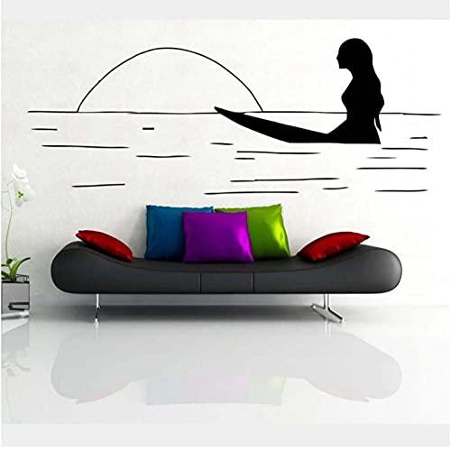 Calcomanía de pared de surf, jinete de surf abstracto, resbalón del océano, escuela de surf, tabla de surf, pegatina de pared, decoración del dormitorio del hogar, calcomanía de vinilo 57x22cm