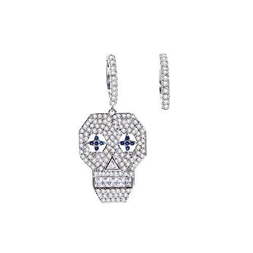 Orecchini pendenti a forma di teschio per donne, ipoallergenici, placcati in argento e oro rosa, con zirconi colorati, gioielli regalo per mamma e amici e Rame, colore: Silver Plated, cod. TEH0336-SL
