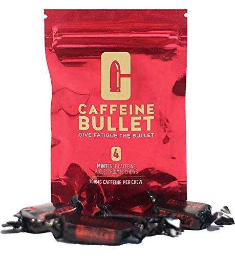 Caffeine Bullet 4 Mint Chews – Exceeds Energy Chews, Caffeine Pills and Gum. 100mg Caffeine Boost to go Marathon Running, Cycling and The Gym. A pre Workout Sports Nutrition Shot for Endurance Sports