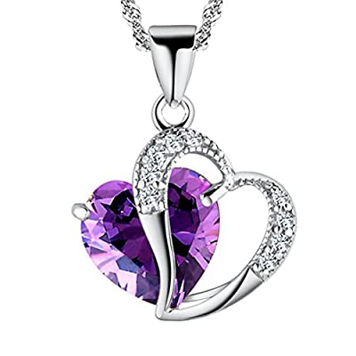 Pearl of Dream A Heart Full of Love [Purple] Sterling Silver Pendant Necklace
