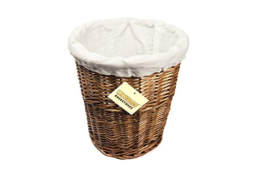 WoodLuv Round Wicker Waste Paper Bin with Cloth Lining, Brown/White