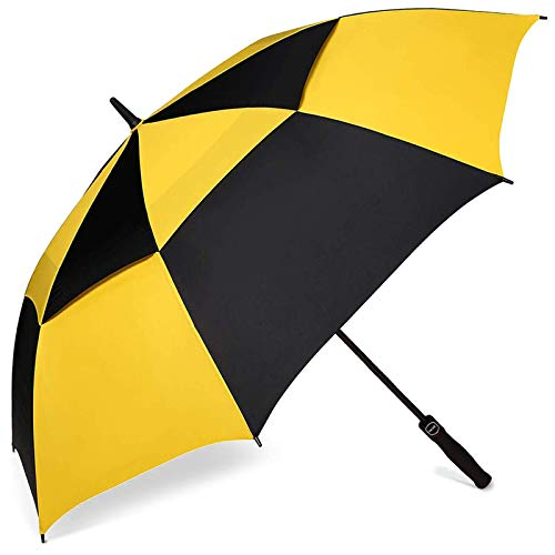 BAGAIL Golf Umbrella 68/62/58 Inch Large Oversize Double Canopy Vented Automatic Open Stick Umbrellas for Men and Women(Yellow/Black,58 inch)