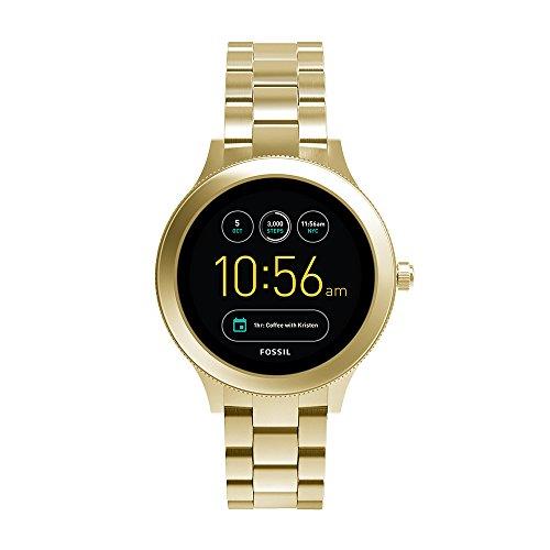 Fossil Women's Gen 3 Venture Stainless Steel touchscreen Watch with Leather Strap, beige (Model: FTW6005)